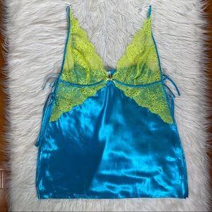 Blue & neon green lace nightie chemise slip XL